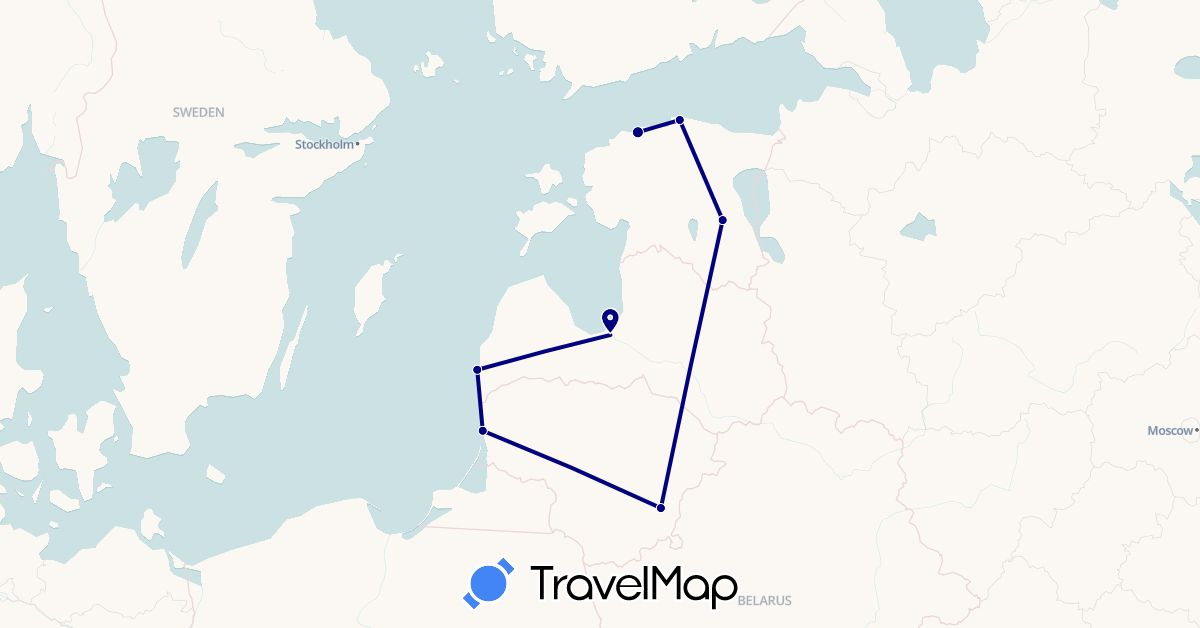 TravelMap itinerary: driving in Estonia, Lithuania, Latvia (Europe)